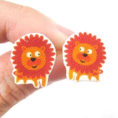 Cute Lion Animal Illustration Stud Earrings | Handmade Shrink Plastic