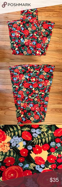 Lularoe Maxi Skirt with Floral Pattern, size XL This Lularoe Maxi skirt features a bright, fun floral pattern. Size XL fits 18-20 and is quite stretchy! This particular skirt is the slinky material. In excellent condition! LuLaRoe Skirts Maxi