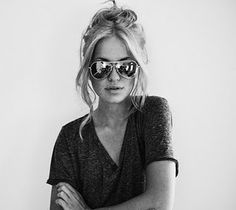 More aviators. Love the hair and slouchy tee, too.