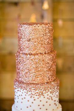 Beautiful blush toned sparkling wedding cake; Featured Photographer: Rachel Peters Photography