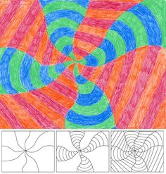 Op Art in swirl form - shows perspective, patterns and algebra as well as area, shape etc. (Maths)