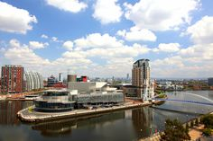 Panoramic view of Salford Quays in Manchester