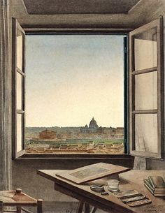 Constant Moyaux, View of Rome from the Artist's Room at the Villa Medici, 1863  the night picture collector