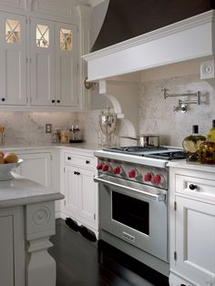 """Wolf 36"""" Gas Range - GR364G - White Kitchen"""