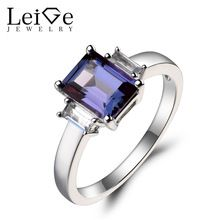 Leige Jewelry Promise Ring Alexandrite Ring Emerald Cut Color Changing Gemstone June Birthstone Solid 925 Sterling Silver Ring //Price: $US $145.00 & FREE Shipping //     #Ring Gifts