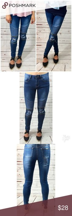 NWT Denim Moto Jeggings! Stretchy denim moto Jeggings with double zippers at the knee and ripped detailing. These are so comfy and stylish. They are a medium rise in a vintage blue wash. Jeans Skinny