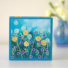 Blue Jewellery Box Meadow Wooden Box Floral by TeodoraPainting