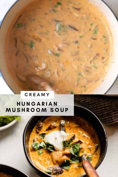 Healthy Soup Recipes, Vegetarian Recipes, Cooking Recipes, Drink Recipes, Hungarian Mushroom Soup, Mushroom Soup Recipes, Healthy Mushroom Soup, Creamy Mushroom Soup, Best Nutrition Food