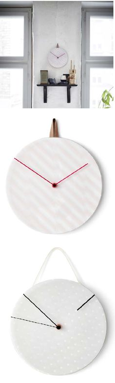 IKEA PS 2014 wall clock. The face constantly changes, as the hour hand is a revolving transparent disc with a pattern that creates playful shadows.