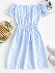 Stripes Off Shoulder Seersucker Mini Dress - Day Sky Blue Girls Fashion Clothes, Teen Fashion Outfits, Girl Outfits, Fashion Dresses, Stylish Dresses, Casual Dresses For Women, Cute Dresses, Cute Casual Outfits, Pretty Outfits
