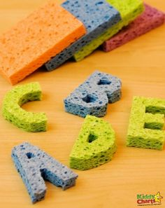 Fun alphabet activity for kids. How to make ABC Sponge Stamps.
