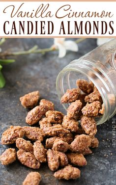 Vanilla Cinnamon Candied Almonds   Sweet, crunchy, roasted candied almonds coated in a mouthwatering vanilla and cinnamon crust!   http://thechunkychef.com
