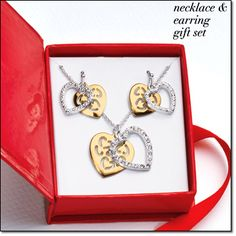 "Tales of Love  Necklace and Earring Gift Set   Goldtone with textured silvertone overlay. Rhinestone-accented pendant, 6/8"" L. Pierced earrings, 7/8"" L. Comes in a gift box.    Item#: 451-408  Brochure: $12.99 now $6.99 the set  http://www.youravon.com/shoppingtillyoudropboutique"