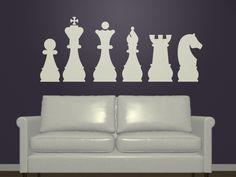 Silueta de ajedrez $250.00 http://www.vinilosdivinos.com/tiendavinilos/alternativo/vinilo-decorativo-piezas-ajedrez-siluetas