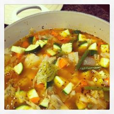 Weight Watchers 0-Point Garden Veggie Soup (my Instagram). Make on Sunday and have lunch for the week.