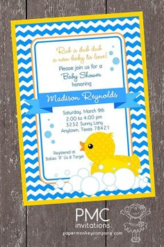 Custom Printed Yellow Rubber Duck Baby Shower Invitations   1.00 Each With  Envelope