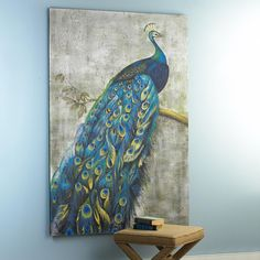 Proud Peacock Art Well, I decided to get this large print for my new living room...it goes perfect for the high wall and furniture...and it look stunning! It is the focal point of my living room.