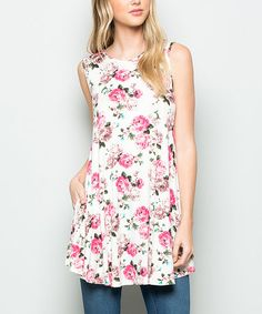 Loving this Ivory Floral Curved-Hem Tunic on #zulily! #zulilyfinds