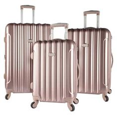 Kensie Metallic 3-piece Expandable Hardside Spinner Luggage Set - Free Shipping Today - Overstock.com - 20095965