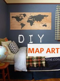 DIY map art, but I mostly love the room colors and throw blanket on the bed; Diy Home Decor, Room Decor, Wall Decor, Room Art, Kids Wood, Diy Wall Art, My New Room, Boy Room, Bedroom Boys