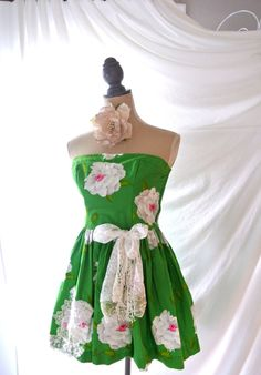 Floral dress, garden party dress, french country chic, boho, mint green, shabby sweetheart dress, summer dresses, True rebel clothing,