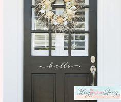 hello door decal, black door, white script lettering, beachy wreath