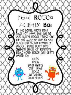 Indoor recess activity bag