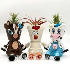 You searched for: MisfitGardens! Discover the unique products that MisfitGardens makes. At Etsy we are proud of our worldwide sales. Flower Pot Art, Clay Flower Pots, Flower Pot Crafts, Clay Pot Crafts, Diy Clay, Crafts To Make, Fun Crafts, Shell Crafts, Flower Pot People