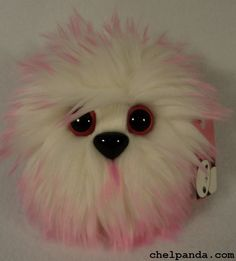 "4"" Coodle - White and Pink Furry Monster Plush. $10.00, via Etsy."