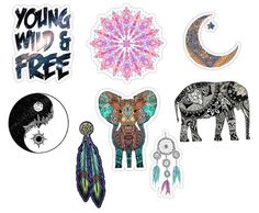 Tumblr stickers / boho stickers / bohemian stickers ( pack of 8 )