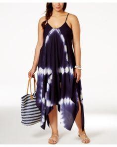 Raviya Raviya Plus Size Tie-Dye Handkerchief-Hem Cover-Up Dress Women's Swimsuit from Macys   ShapeShop