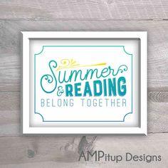 Bon Printable Summer Decor   Summer And Reading Belong Together   Summer Quote    Printable Summer   Summer Decor   Summer Printable  Reading Art