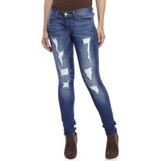 FLYING MONKEY Destructed Skinny Jeans ($47) ❤ liked on Polyvore featuring jeans, blue, faded blue jeans, distressed jeans, ripped jeans, destroyed skinny jeans and super skinny jeans