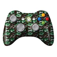 XBOX 360 controller Wireless Glossy Custom Painted- Without Mods Xbox 360 Controller, Custom Paint, Black And Brown, Camo, Green, Camouflage, Military Camouflage