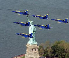 Two US Navy Blue Angels jets are seen from Liberty State Park as they flew over the Statue of Liberty. Military Jets, Military Aircraft, Us Navy Blue Angels, Blue Angels Air Show, Skier, Jones Beach, Land Of The Free, Happy Memorial Day, New York