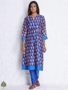 Buy Blue-Purple Block Printed Chanderi Double Layer Kurta by Jaypore Online at Jaypore.com