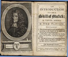 Portrait of John Playford, and frontispiece of Playford's Introduction to the Skill of Musick. Published 1718.