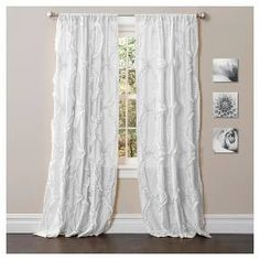 The Avon window panel from Lush Decor showcases an all-over ruffle embroidery pattern that creates three-dimensional texture. The panel's rod pocket slides onto curtain rods for easy installation to instantly refresh your home's decor. Window Curtains, Decor, Curtains, Panel Curtains, Drapes Curtains, Lush Decor, White Paneling, Home Decor, Window Curtains White