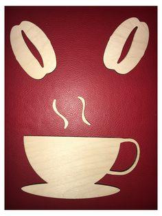 Dřevěná+samolepka+káva+++kávová+zrna