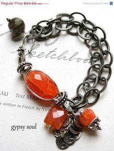 gypsy soul wire wrapped carnelian labradorite charm bracelet. by oldrose