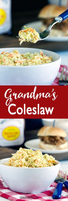 Grandmas Coleslaw - Grandma's old fashioned homemade coleslaw. A favorite recipe from my grandmother. Perfect with pulled pork, bbq summer picnics.