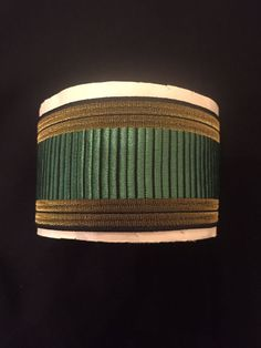 Vintage French Embroidered Gold Green Ribbon lot (8 yrds+)