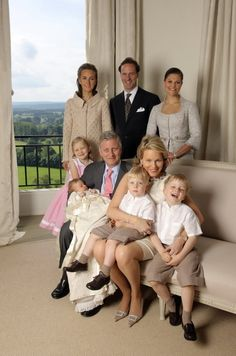R4R Saturday Spam: Royal Christenings #12- Prince Eléonore of Belgium-seated then Crown Prince (now King) Philippe and Crown Princess (now Queen) Mathilde with their four children Princess Elisabeth, baby Princess Eléonore Fabiola Victoria Anne Marie, Prince Emmanuel and Prince Gabriel; standing-Eléonore's godparents Princess Claire, Count Sébastien von Westphalen zu Fürstenberg, and Crown Princess Victoria of Sweden, Chapel of Ciergnon Castle, June 14, 2008.