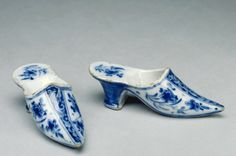RISD Museum: Unknown artist, French. Pair of Shoes, 18th century. Earthenware with tin glaze and enamel. Length: 13.3 cm (5 1/4 inches). Gift of the Estate of Abby Rockefeller Mauze 78.046.21