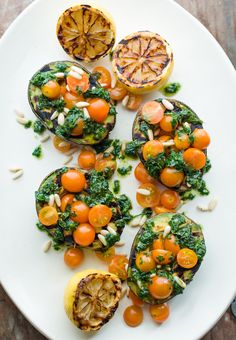 Grilled Avocados with Fresh Herbs & Orange Cherry Tomatoes.