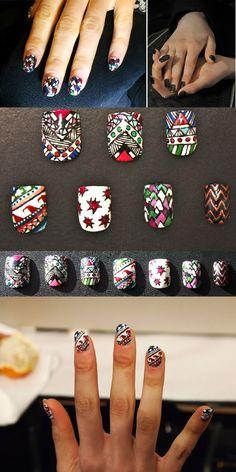 Sarah Havens of Zebber Nails made these rad nails for Mara Hoffman Fall 2012