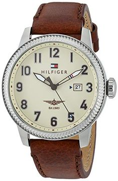 7987f10f415f7d Tommy Hilfiger Men s  JASPER  Quartz Stainless Steel and Leather Casual  Watch