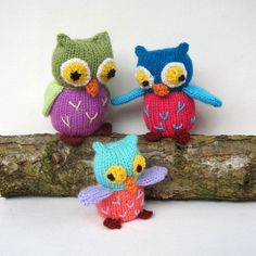 Owl Family  toy  PDF knitting pattern email by toyshelf on Etsy, $3.95