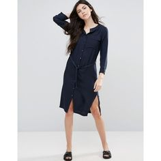 Vila Midi Belted Shirt Dress featuring polyvore women's fashion clothing dresses blue mid calf dresses midi shirt dress tie waist shirt dress viscose dress blue shirt dress