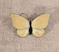 Volmer-Bahner-Denmark-Vintage-Sterling-Silver-Yellow-Enamel-Butterfly-Pin